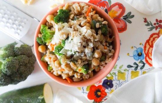 Broccoli Zucchini Chickpea Farro Risotto