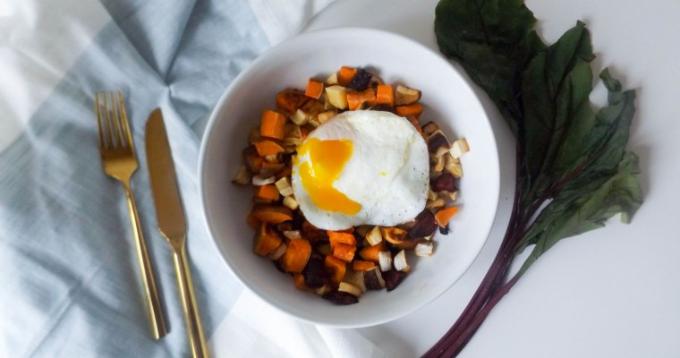 Roasted Root Vegetable Hash & Eggs