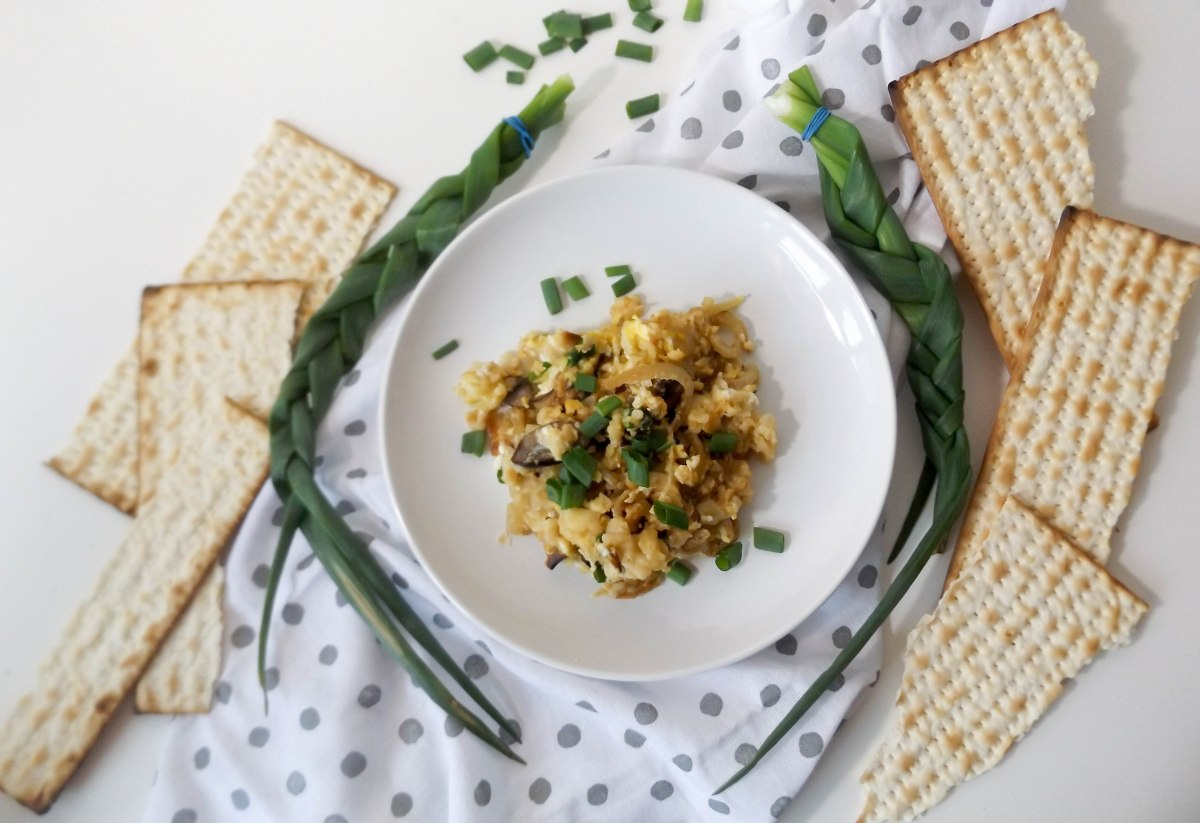 Matzah Brei with Spring Onions and Feta