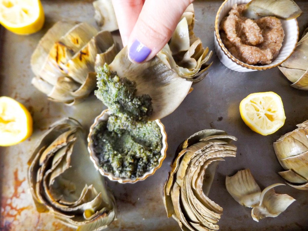 Grilled Artichokes & Pesto