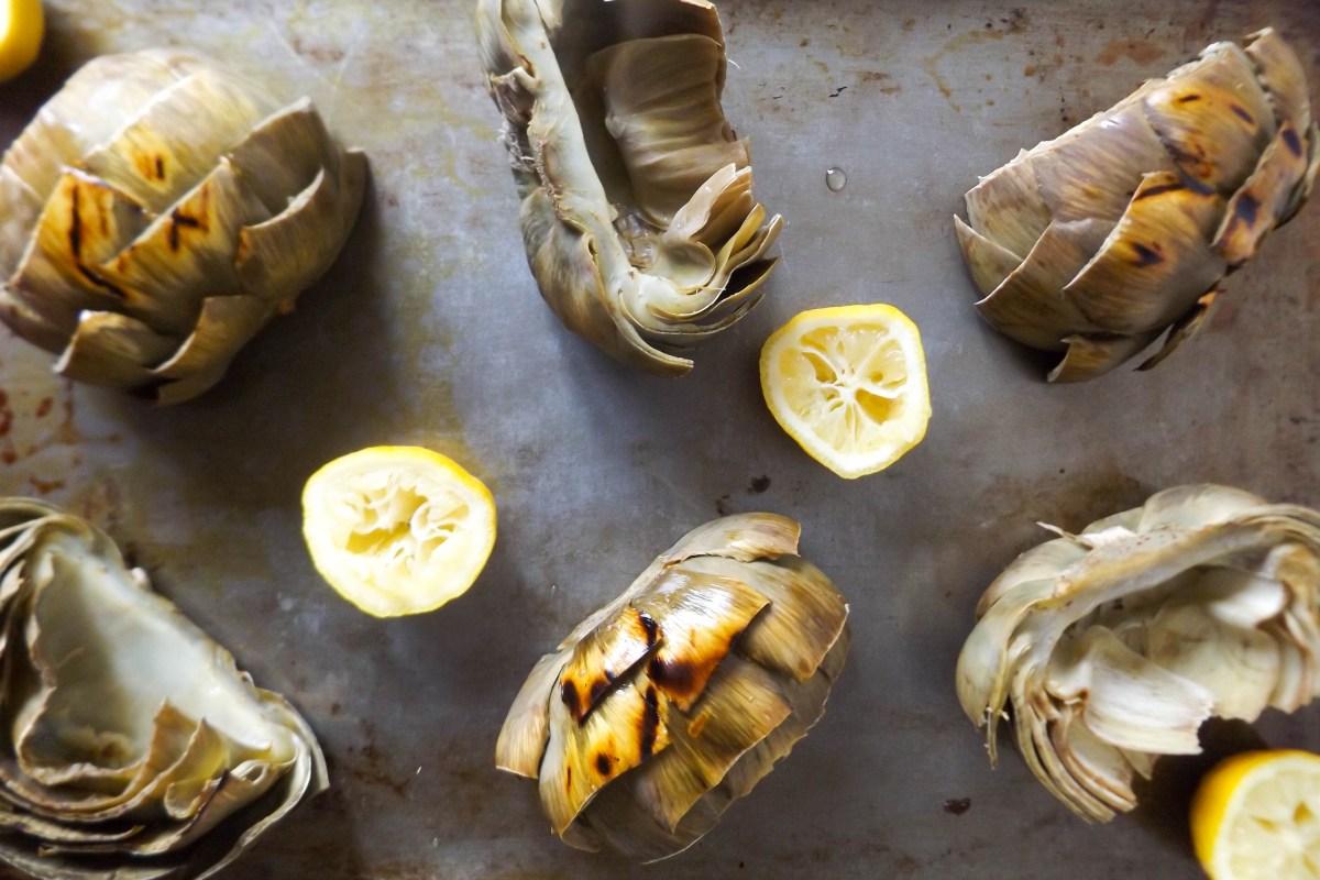 Grilled Artichokes & Pesto