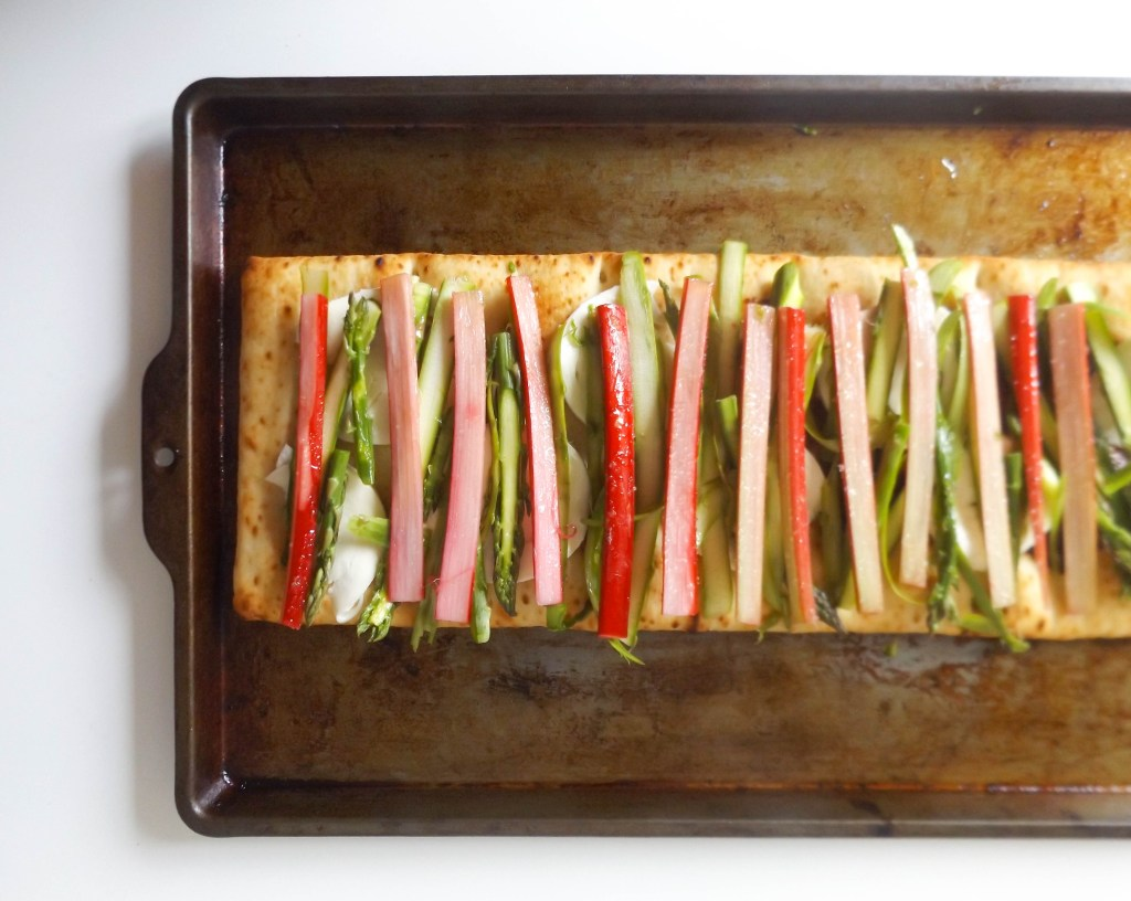 Rhubarb and Aspragus Flatbread Pizza