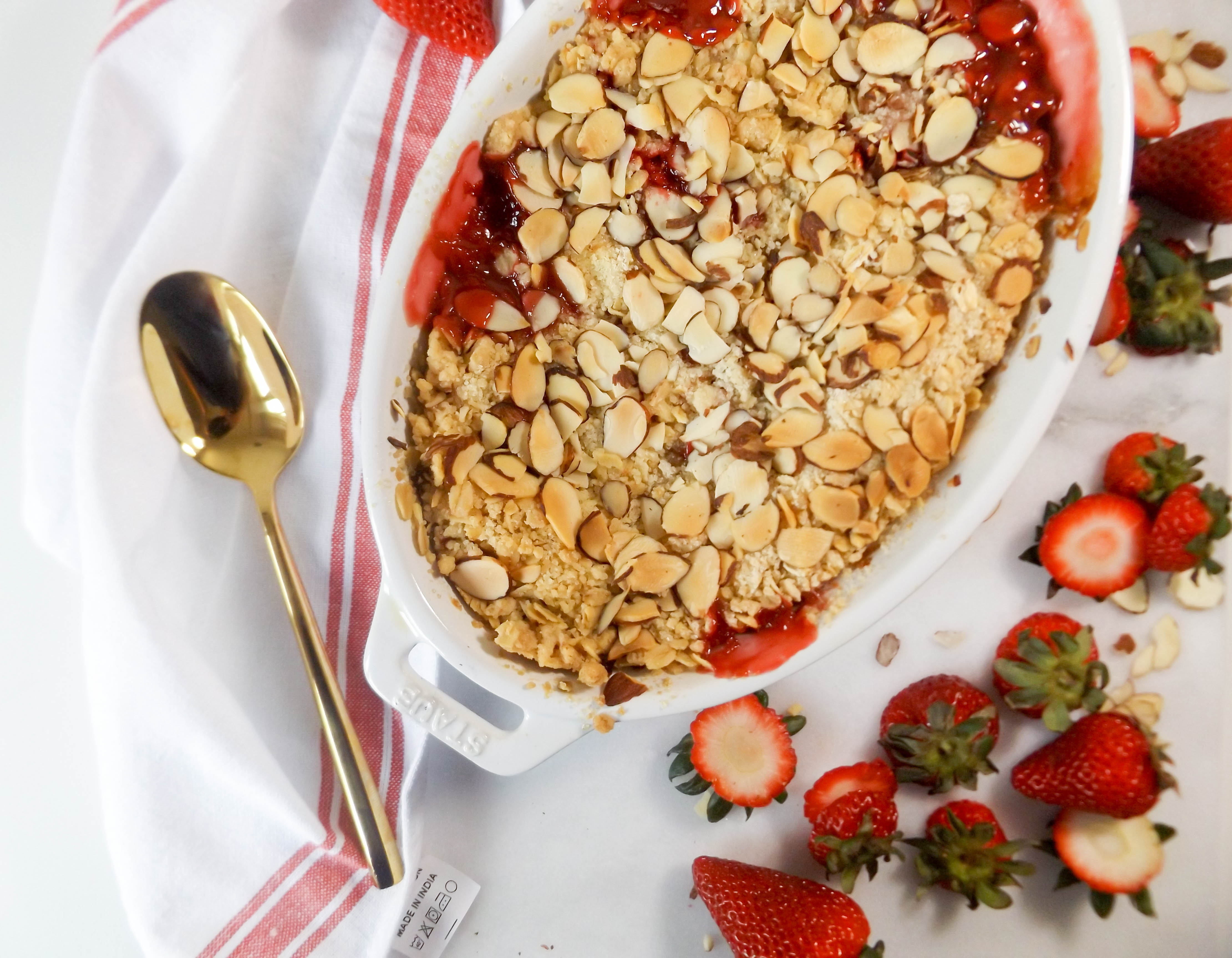 Strawberry Rhubarb Almond Crisp