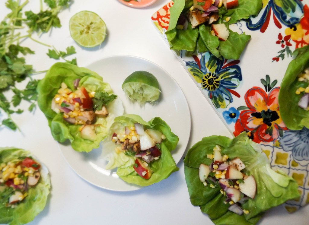Chicken Lettuce Wraps with Grilled Peach Corn Salsa