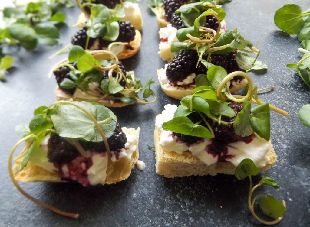 Blackberry Burrata Crostini