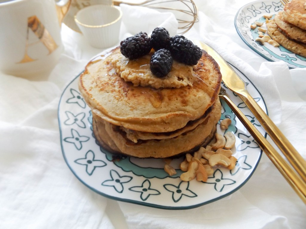 Oatmeal Cashew Butter Pancakes with Blackberries