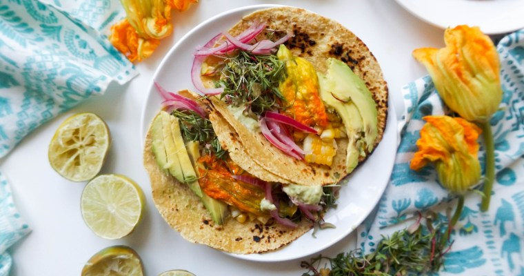 Stuffed Squash Blossom and Grilled Corn Tacos with Avocado Sauce