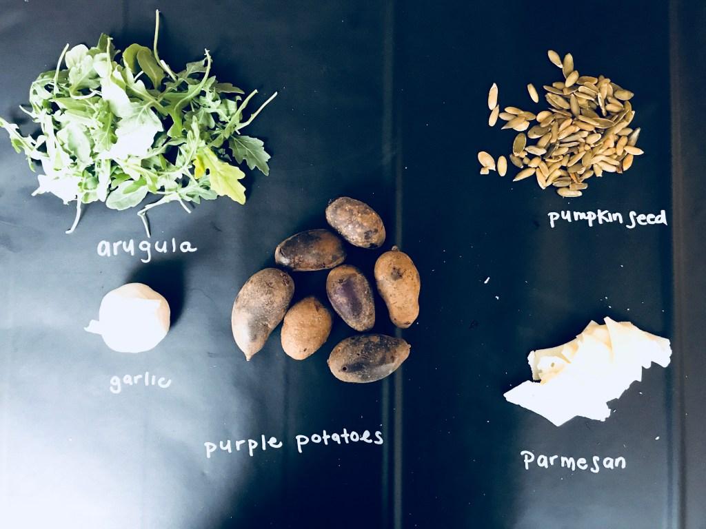 Crispy Smashed Potatoes with Pumpkin Seed Pesto