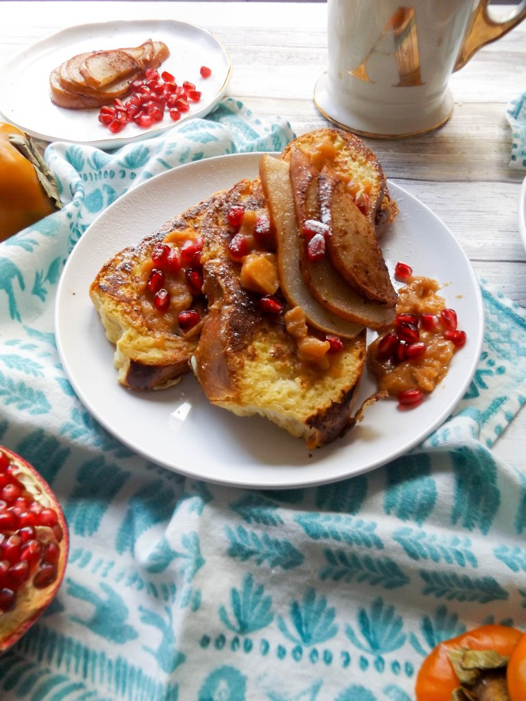Challah French Toast with Persimmon and Pears