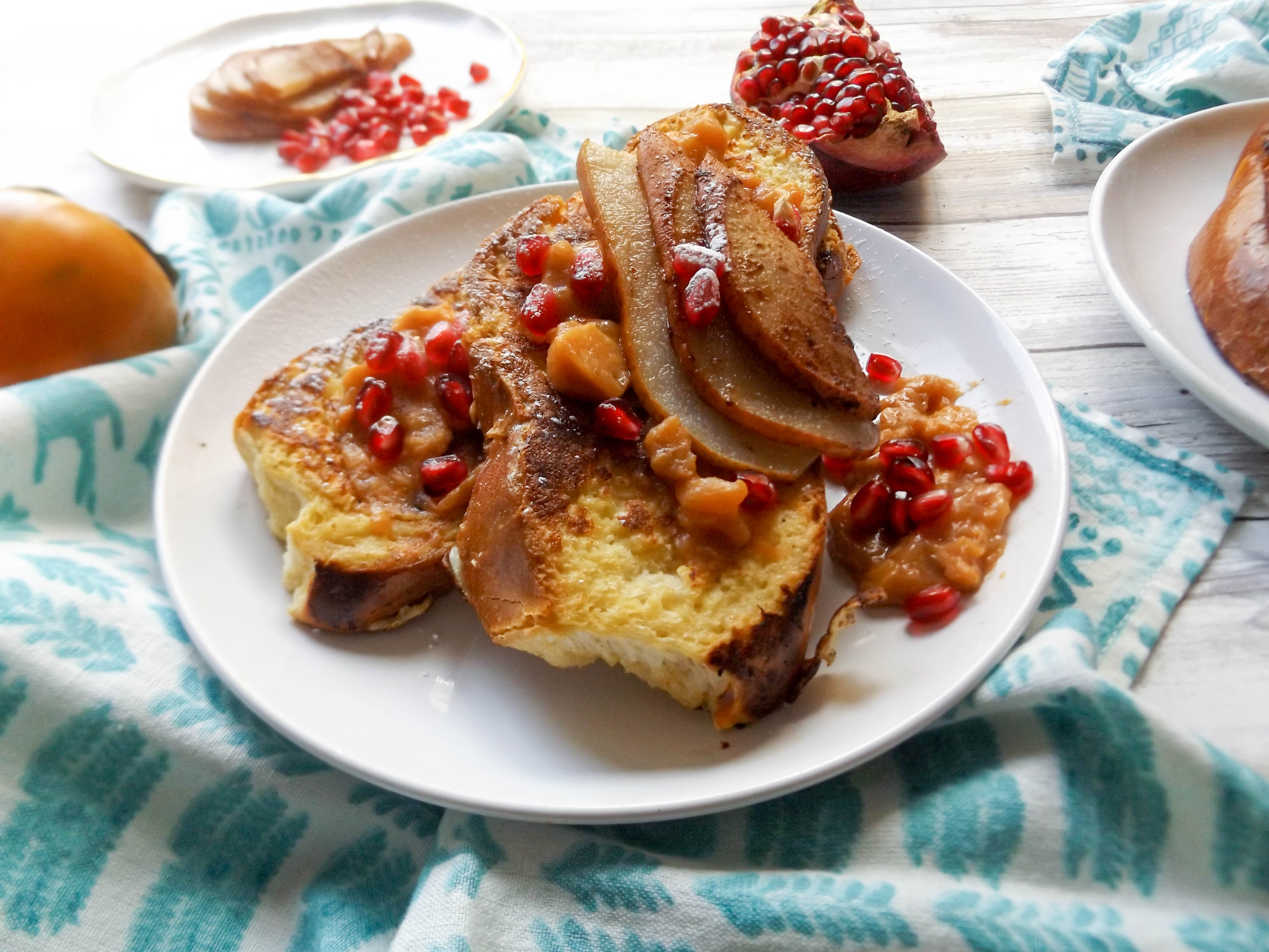 Challah French Toast with Persimmon & Pear