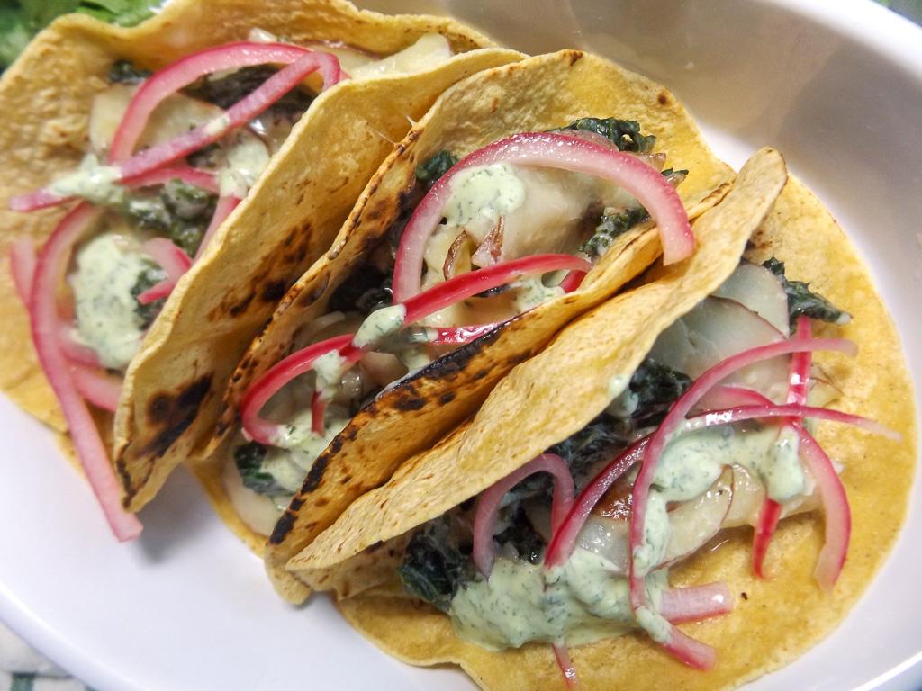 Creamy Kale and Potato Tacos