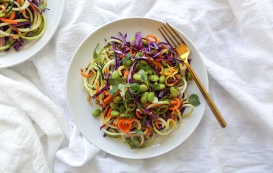 Spiralized Raw Asian Veggie Salad