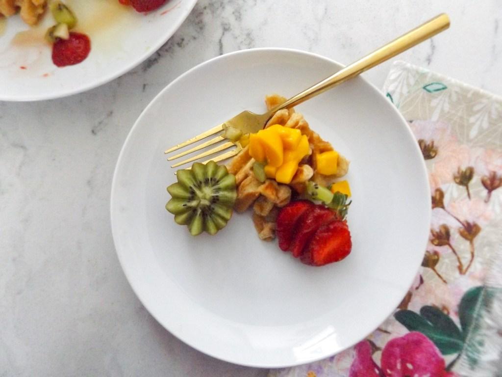 Whole Wheat Waffles with Kiwi Strawberries & Mango