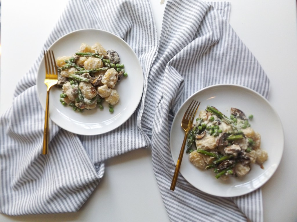 Cashew Miso Cauliflower Gnocchi with Spring Vegetables
