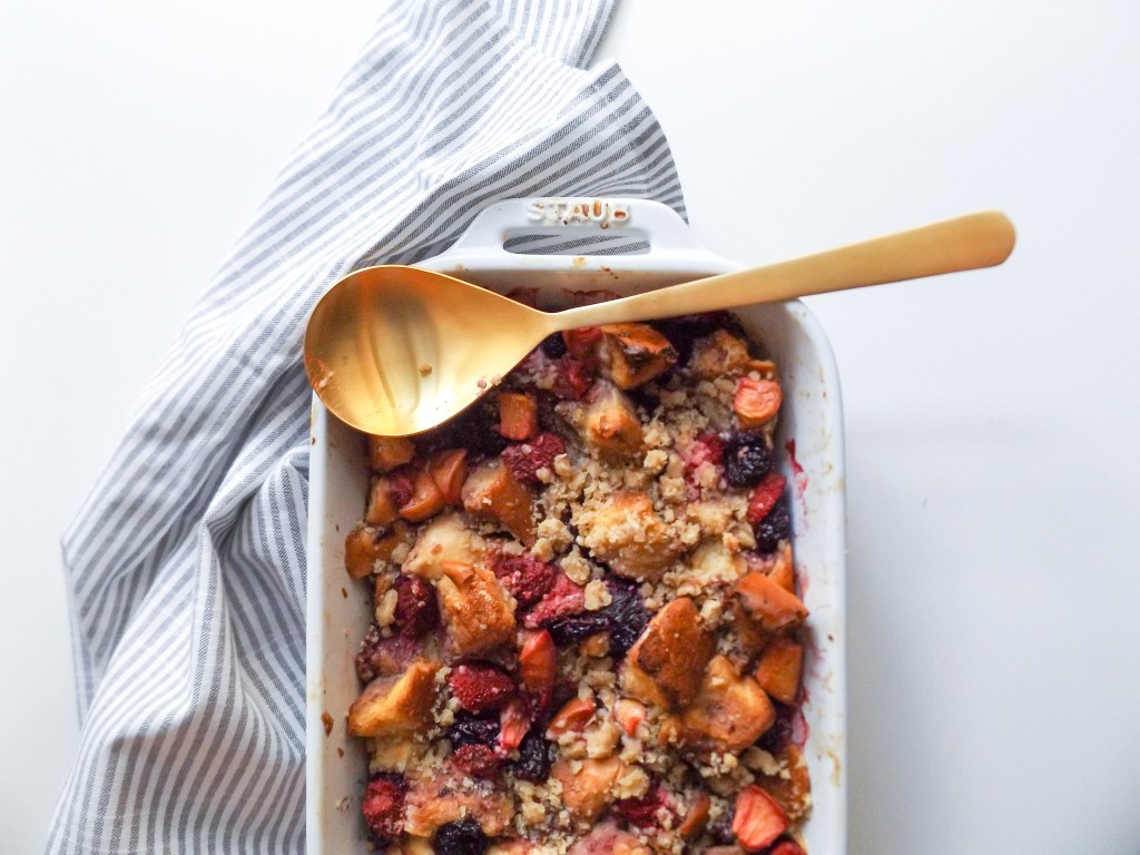 Nectarine & Berry Baked Challah French Toast