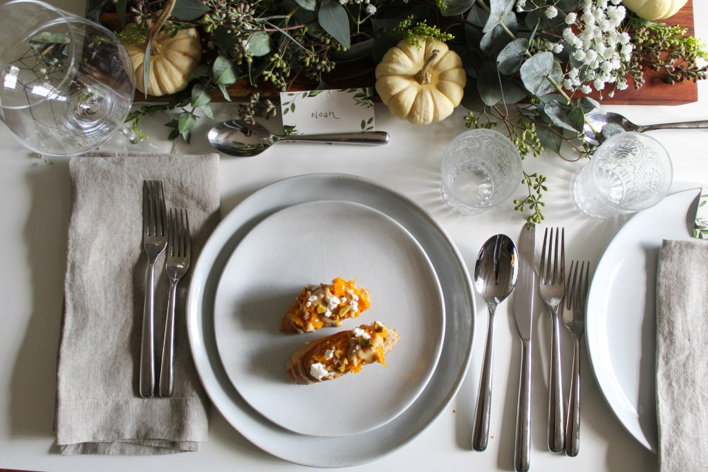 figs & flour pumpkin tahini crostini