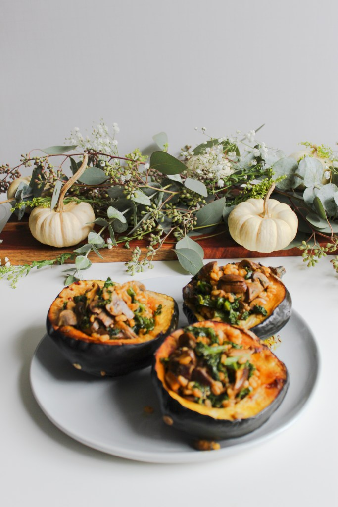 Squash with herby mushrooms & farro from Figs & Flor