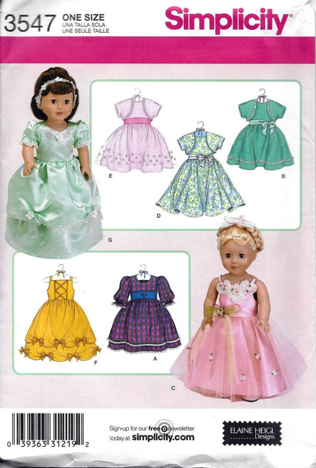 American Girl Doll Sewing Patterns 18 Doll Clothes Sewing Pattern Simplicity 3547 Dresses Boleros