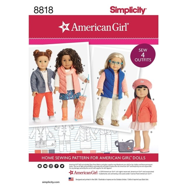 American Girl Doll Sewing Patterns American Girl 18 Inch Doll Clothes Simplicity Sewing Pattern 8818