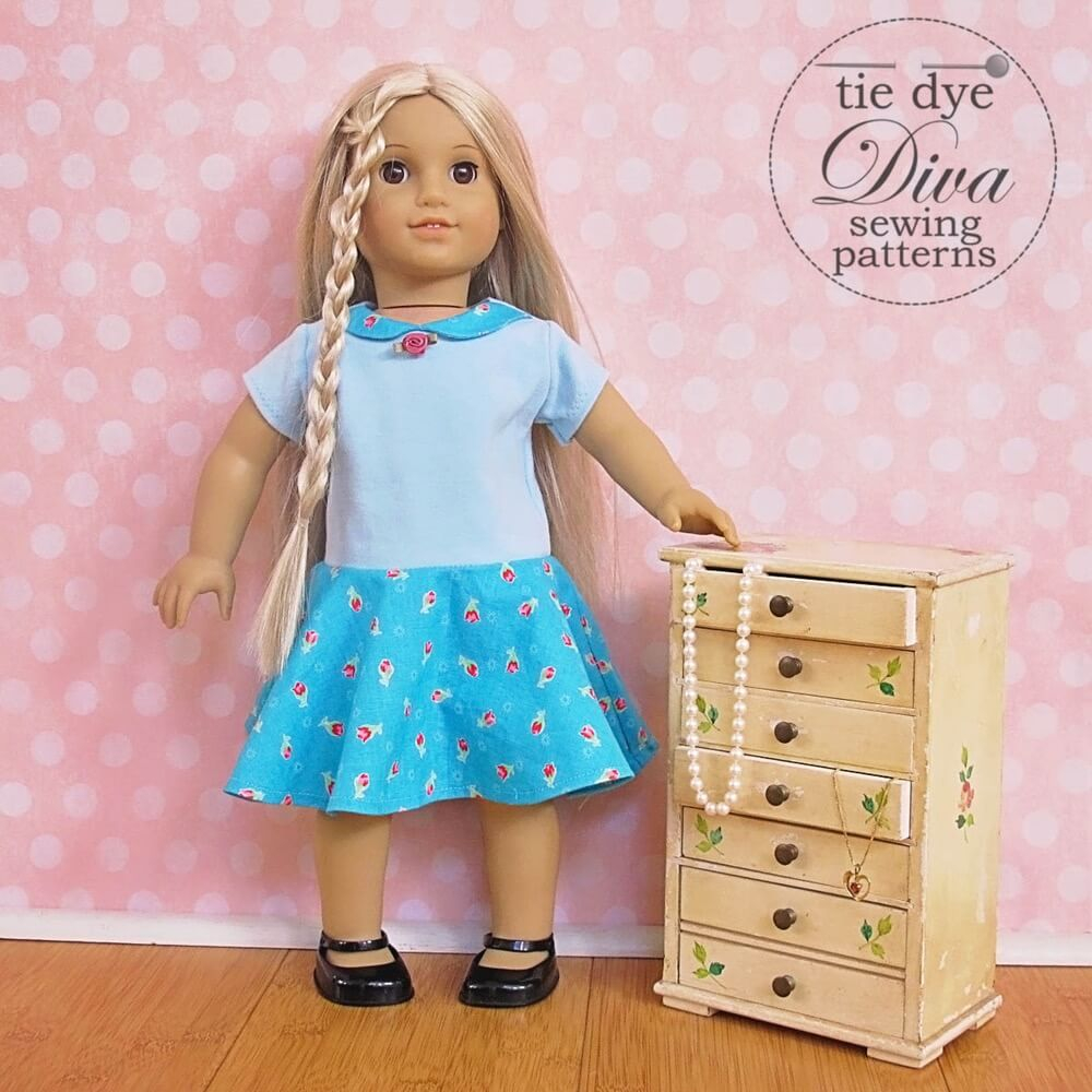 American Girl Doll Sewing Patterns Garnet Dress Top And Skirt Pattern For 18 Doll Like American Girl