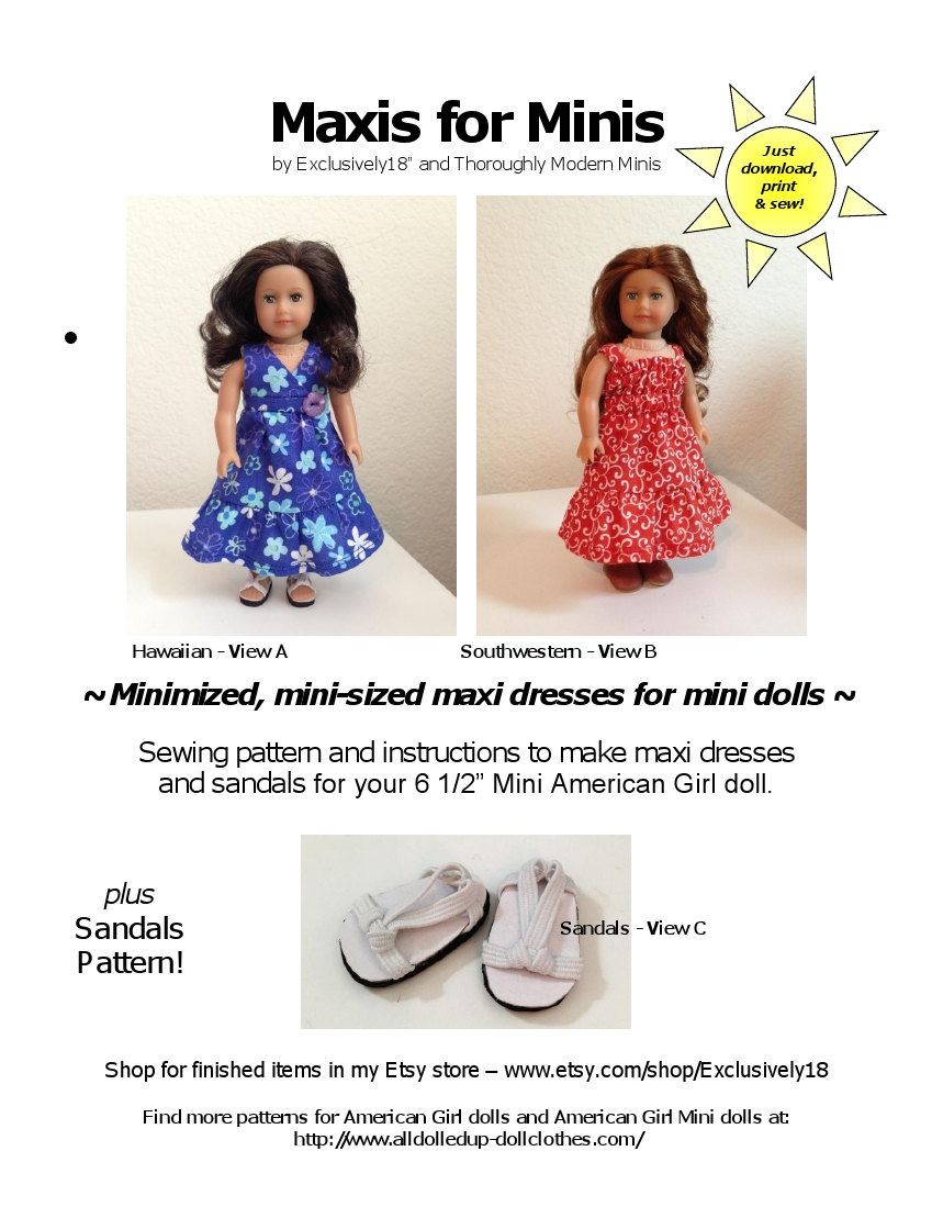 American Girl Doll Sewing Patterns Maxis For Minis American Girl Mini Doll Pattern 2 Maxi Etsy