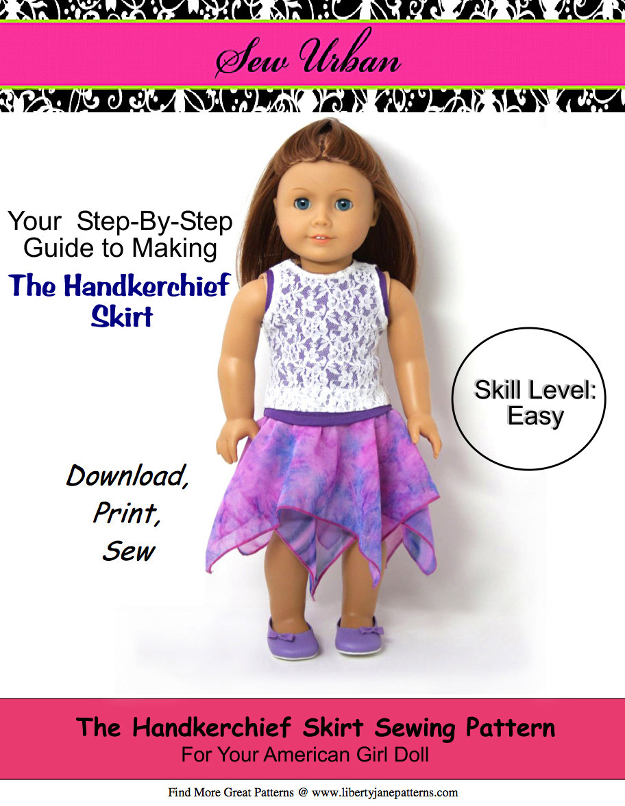 American Girl Doll Sewing Patterns Pixie Faire Sew Urban Handkerchief Skirt Doll Clothes Pattern Etsy