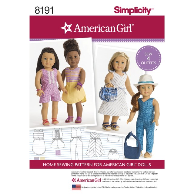 American Girl Doll Sewing Patterns Simplicity 8191 American Girl Doll Clothes For 18 Doll
