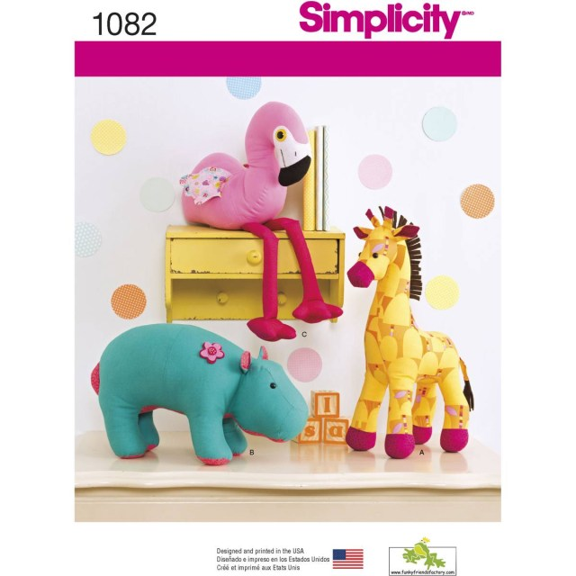 Animal Sewing Patterns Simplicity Stuffed Toy Animals Sewing Pattern 1082 Hobcraft
