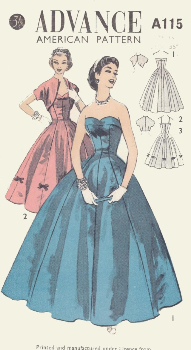 Ball Gown Sewing Patterns Vintage Evening Gown Dress Bolero Sewing Pattern A115 Size Etsy