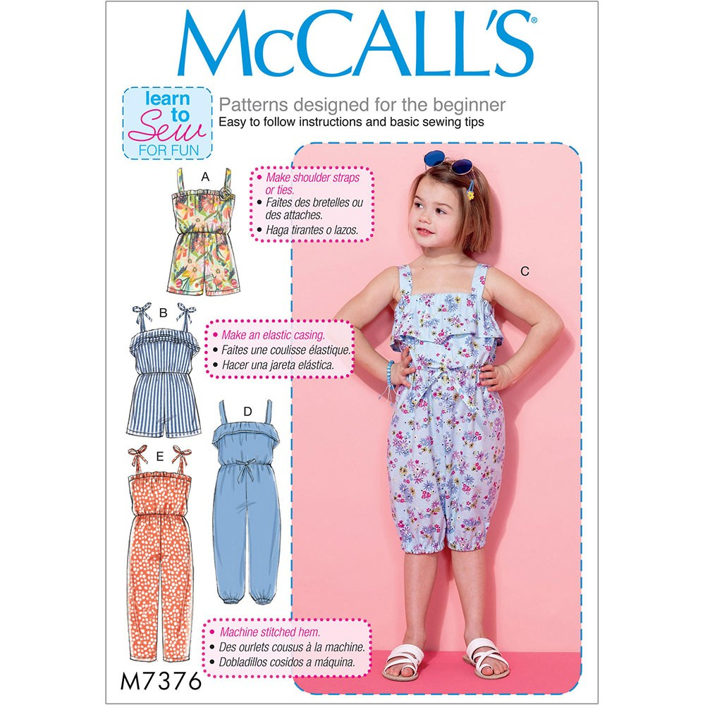 Beginner Sewing Patterns Girls Blouson Bodice Rompers And Jumpsuits Mccalls Sewing Pattern