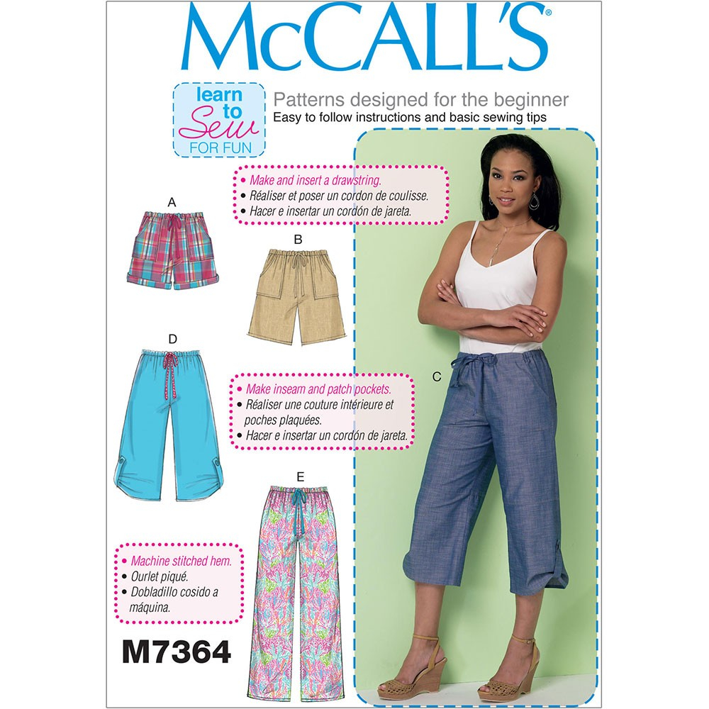 Beginner Sewing Patterns Misses Drawstring Shorts And Trousers With Pockets Mccalls Sewing