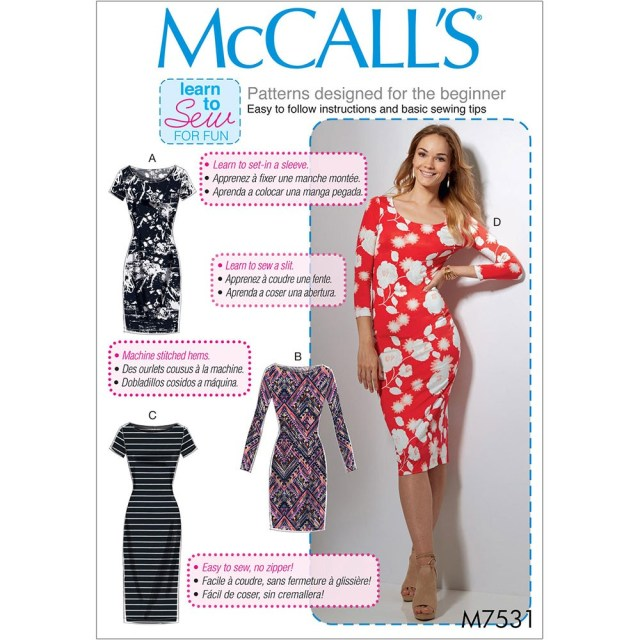 Beginner Sewing Patterns Misses Knit Bodycon Dresses Mccalls Sewing Pattern 7531 Sew Essential