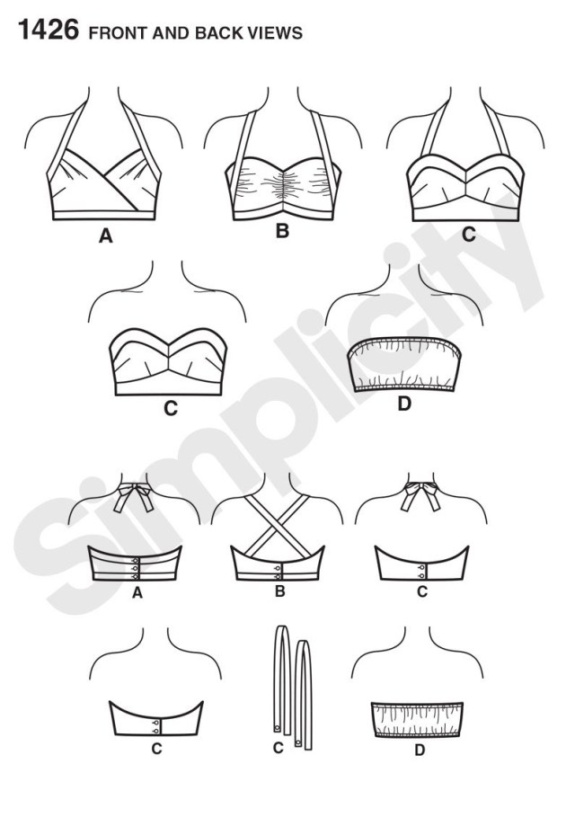 Bra Sewing Patterns Simplicity 1426 Misses Vintage 1950s Bra Tops