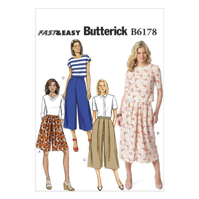 Butterick Sewing Patterns Butterick Sewing Pattern Misses Very Easy Skirt Culottes Sizes 6