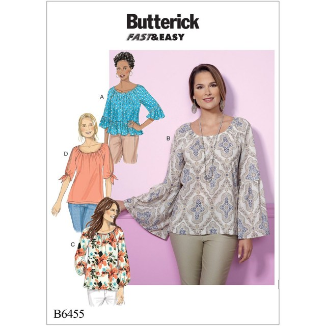 Butterick Sewing Patterns Misses Gathered Raglan Sleeve Tops Butterick Sewing Pattern 6455