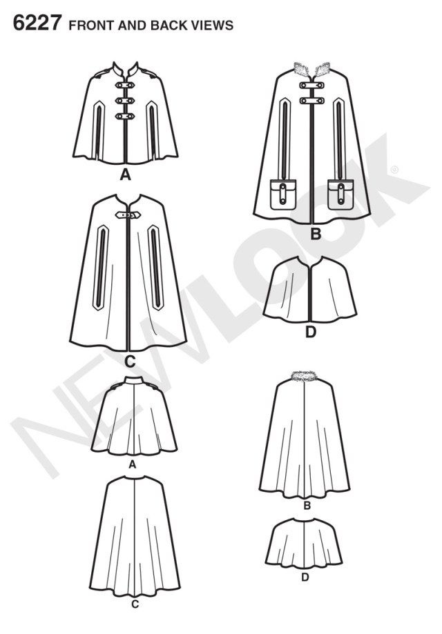 Cape Sewing Pattern New Look 6227 Misses Cape In Three Lengths
