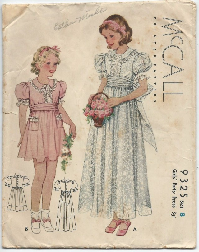 Childrens Sewing Patterns 1930s Vintage Sewing Pattern Mccall 9325 Girls Fancy Party Dress