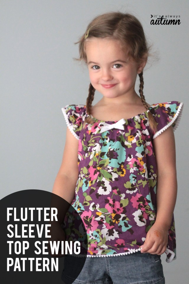 Childrens Sewing Patterns Girls Flutter Sleeve Dress Or Top Sewing Tutorial Free Pattern In
