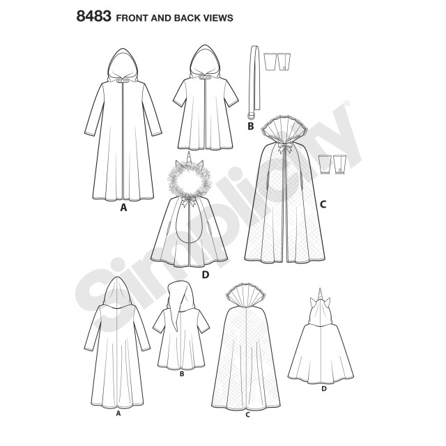 Cloak Sewing Pattern Pattern 8483 Childs Cape Costumes New Forest Fabrics