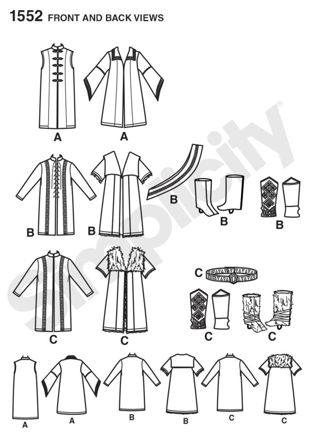 Cloak Sewing Pattern Simplicity 1552 Mens Medieval Tunic Cloak And Accessories