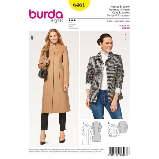 Coat Sewing Patterns Misses Coats Burda Sewing Pattern 6461 Sew Essential