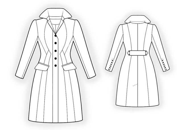 Coat Sewing Patterns Waisted Coat Sewing Pattern 4298 Made To Measure Sewing Pattern