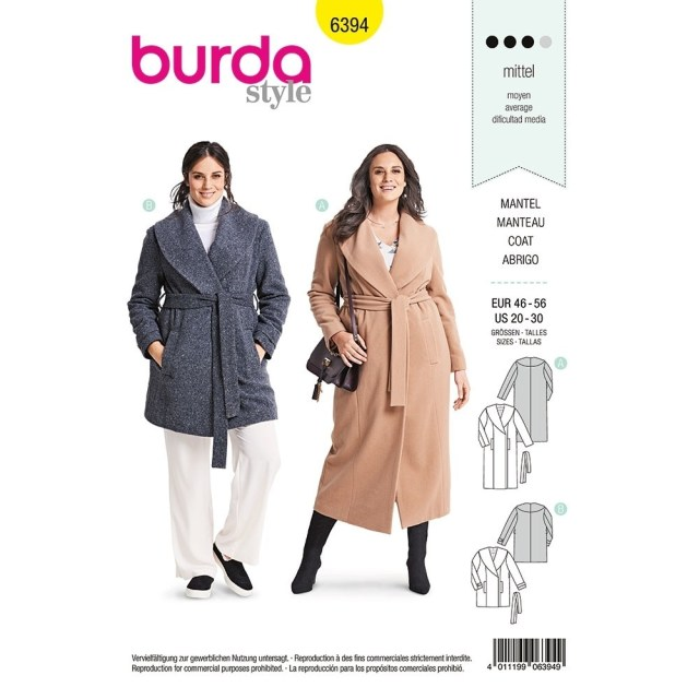 Coat Sewing Patterns Womens Plus Size Wrap Coat Burda Sewing Pattern 6394 Sew Essential