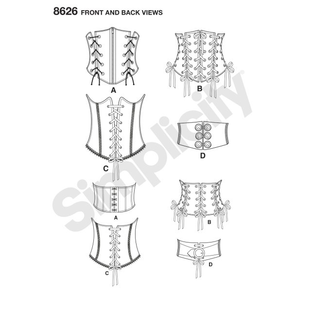 Corset Sewing Pattern Simplicity Sewing Pattern Misses Corset Belt Size 6 To 22 8626