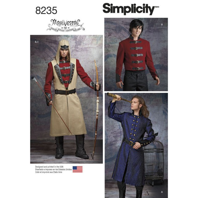 Cosplay Sewing Patterns Simplicity 8235 Cosplay Or Steampunk Jacket Coat Mens Costume