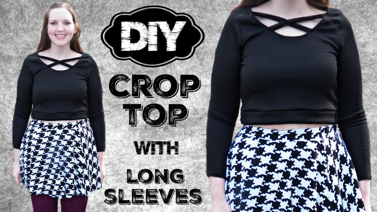 Crop Top Sewing Pattern Diy Long Sleeve Crop Top With Caged Straps Stretch Fabric Sewing