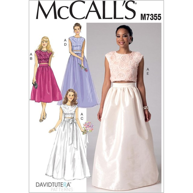 Crop Top Sewing Pattern Misses Crop Top And Gathered Skirts Mccalls Sewing Pattern 7355