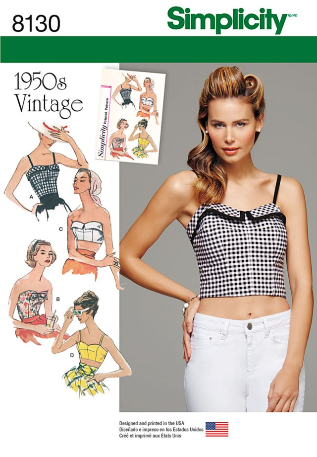 Crop Top Sewing Pattern Simplicity Simplicity Pattern 8130 Misses 1950s Vintage Tops And