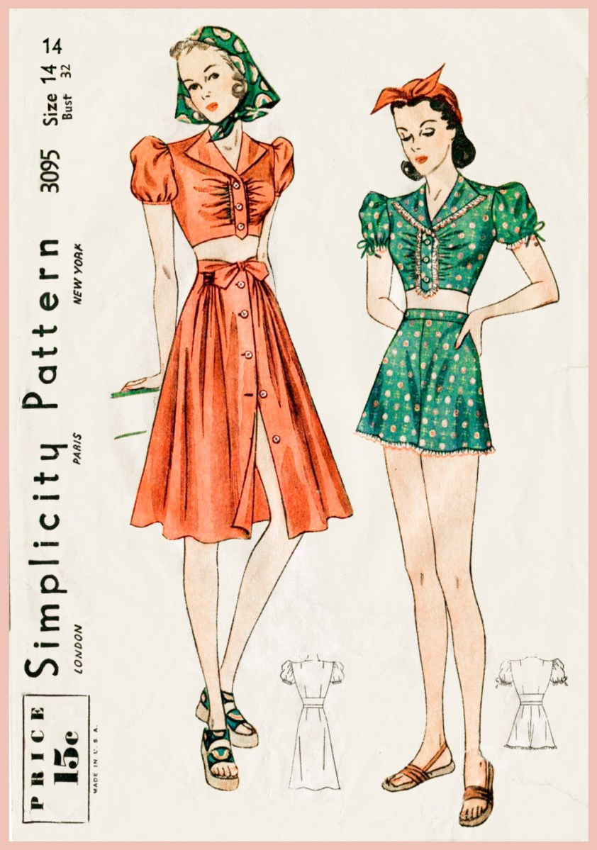 Crop Top Sewing Pattern Vintage Sewing Pattern 1930s 1940s Crop Top Puff Blouse Beach Etsy