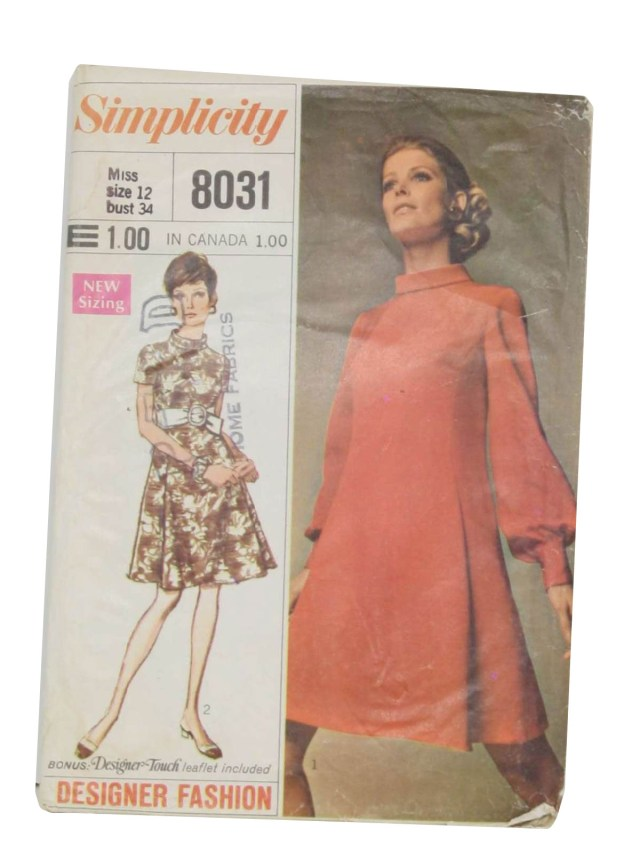 Designer Sewing Patterns Retro 1960s Sewing Pattern 1969 Simplicity Pattern No 8031